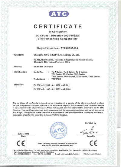 Topsflo Micros DC pumps and Topsflo Solar Water Pumps - ATC Certificate of Compliance