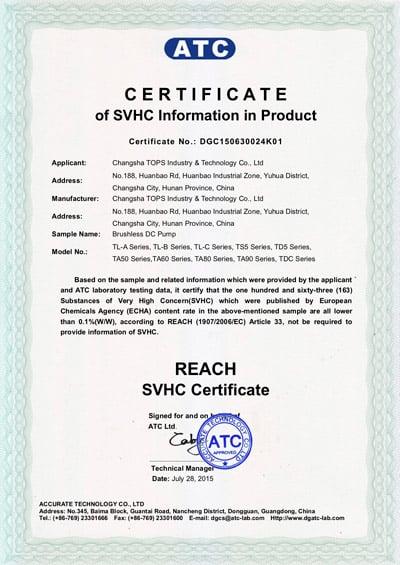 Topsflo Micros DC pumps and Topsflo Solar Water Pumps - SVHC Certificate