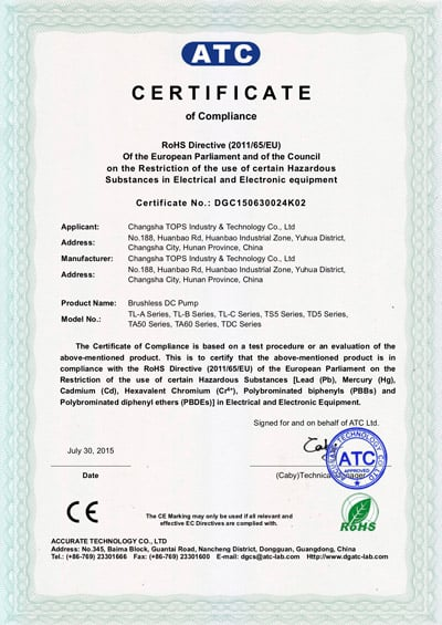 Topsflo Micros DC pumps and Topsflo Solar Water Pumps - RoHS Certifcate of Compliance